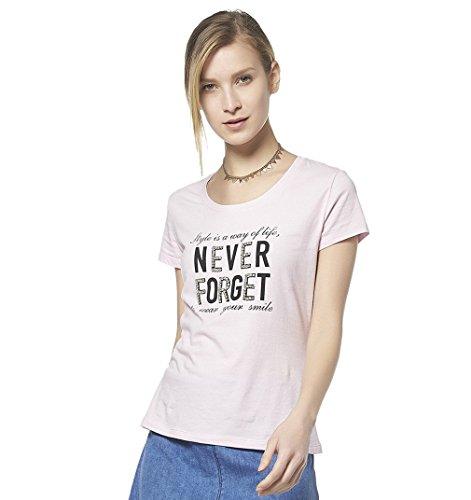 Escalier Chemisier à manches courtes pour femme Imprimé T-shirt strass rose Rose - Rose