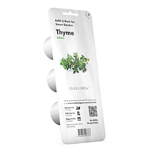 Click & Grow Smart Herb Garden Pack de 3 Recharge pour jardinière Thym Blanc 15 x 4 x 4 cm