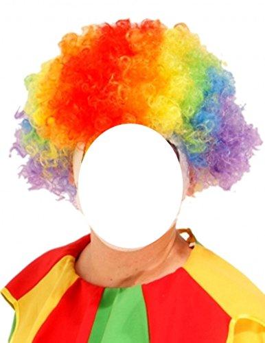 Regenbogen-Clown-Afro-Haar-Perücke-Abendkleid / Halloween
