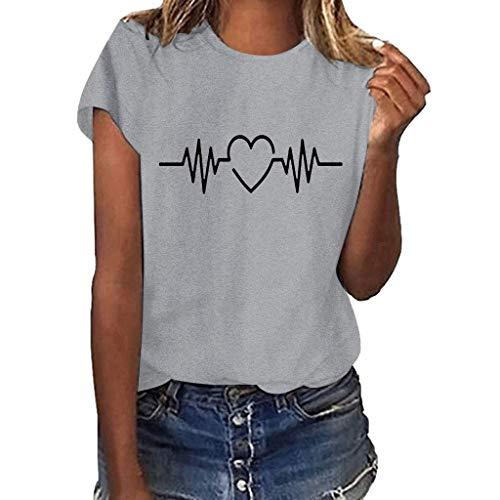 Yvelands-Damen Tops T-Shirt Mädchen Plus Size Print Shirt Kurzarm Bluse Tops(Gray5,XXXL)