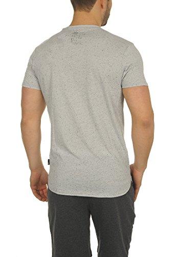 !Solid Tedros Herren T-Shirt Kurzarm Shirt V-Ausschnitt Brusttasche Aus 100% Baumwolle Meliert Light Grey (2325)