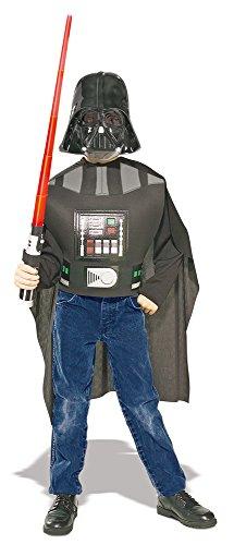 Darth Vader Kostüm Set mit Maske und Lichtschwert für Kinder - Größe 122-152 - Star Wars Lizenz ()