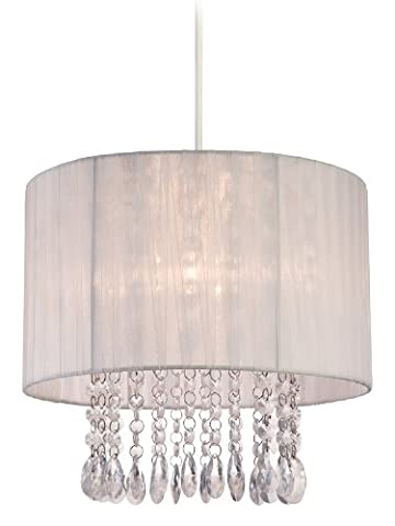 Firstlight 60 Watt Organza Easy-Fit Pendant, White Shade with Clear
