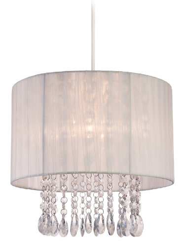 Firstlight - Pantalla para lámpara de techo (60W, pantalla blanca de organza)