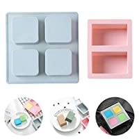 Ymwave 2 Piece Soap Mould Silicone Soap Mould Rectangular and Square Soap Mould for Chocolate Candy Ice Cube Trays Handmade DIY