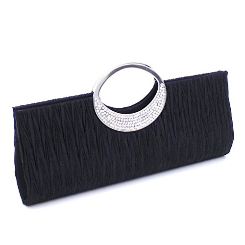 jEZmiSy Frauen Luxus Strass Satin Plissee Abendtasche Party Clutch Handtasche Handtasche Black -
