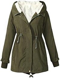 Tongshi Damas con capucha Parka polar TopWinter caliente larga mujer chaqueta abrigo