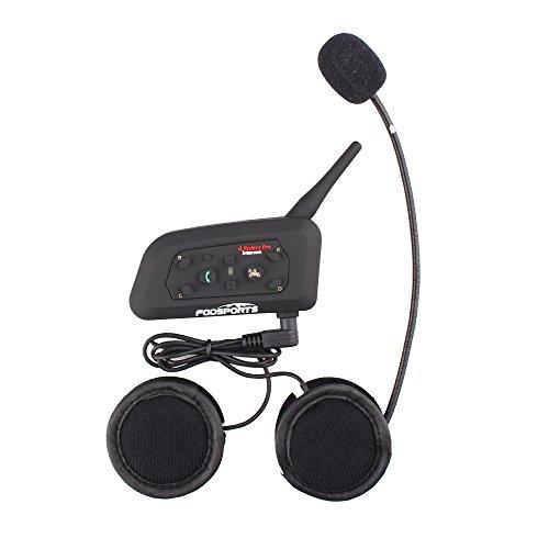 Fodsports Motorradhelms Bluetooth Gegensprechanlage Kopfhörer 6 Riders Vollduplex Intercom Bluetooth Headset für helm, MP3 Stereo Musik/GPS Rundfunk/ 850mAh/1200M (1 Einheit mit Hard Kabel Headsets) (Atv Helm Mit Bluetooth)