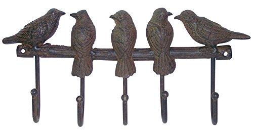 Wandhaken Hakenleiste 5 Haken Garderobenleiste Vogel Vögel Gusseisen Shabby