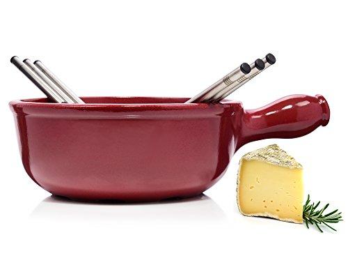 Emile Henry Käsefondue Set 7 teilig | Beinhaltet Caquelon und Fonduegabeln | Genießen Sie Ihr Käsefondue in Gesellschaft mit Freunden und der Familie