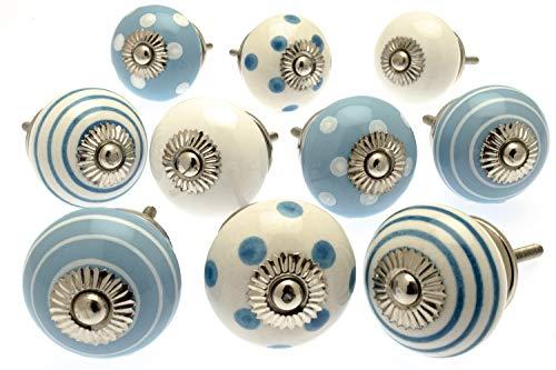 Mango Tree - Juego de 10 pomos de cerámica para Puertas de Armario, diseño de Lunares y Rayas, Color Azul y Blanco