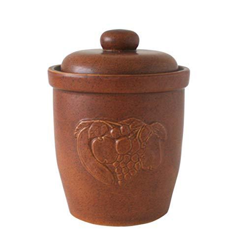 Mehrzwecktopf Rumtopf Gärtopf Einlegetopf 10 Liter mit Deckel Ø ca. 27 cm - praktische Gurkentopf, Keramik Topf zum Gärren braun mit Früchte Dekor