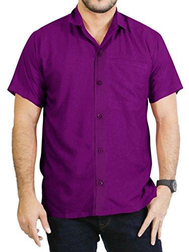 LA LEELA männer Hawaiihemd Kurzarm Button Down Kragen Fronttasche Beach Strand Hemd Manner Urlaub Casual Herren Aloha Magenta-Violet_A746 5XL Viskose einfach