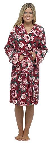 Wolf & obtenir Mesdames Motif floral robe Peignoir à Capuche en polaire red
