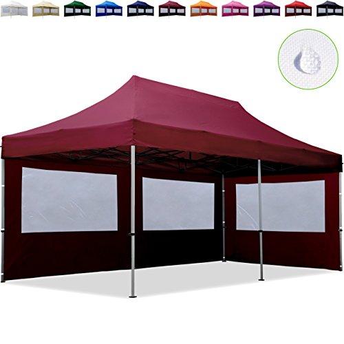TOOLPORT Tente Pliante 3x6 m - 2 côtés Aluminium Barnum Chapiteau Pliant Tonnelle Stand Paddock Réception Abri Rouge