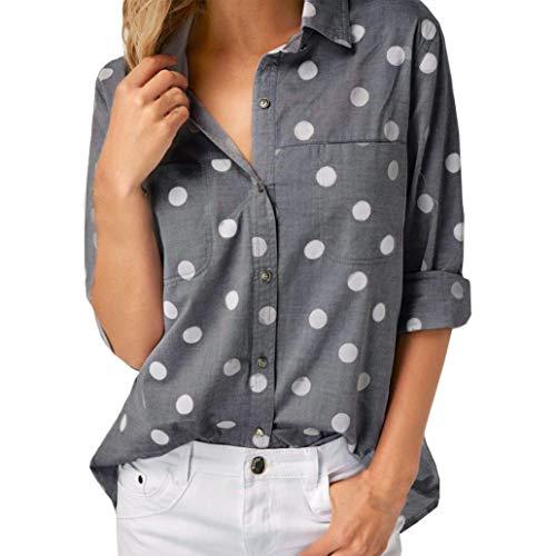 Womens Blouses, SHOBDW Women Fashion Work Office Dot Print Pockets Gray Long Sleeve T Shirt Casual Autumnal Blouse Tops
