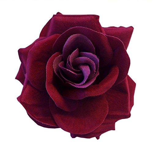 Haar Toten Der Tag Kostüm - Dunkle Rot Burgunder Grobe Clip Flamenco Gotische Tag Der Toten Haare Rose Blume