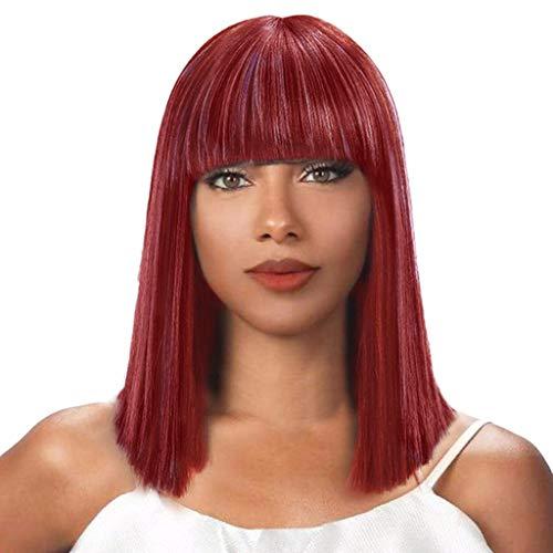 kashyk Frauen Art und Weise synthetische Kurze gerade Ombre BOB-Mischungs mit Pony Farben-natürliches Haar-volle Perücke für Halloween, Fasching, Karneval, Party, Kostüm - Afro Diva Kostüm