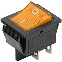 Interruptor basculante iluminado DPST amarillo, 22 x 30 mm