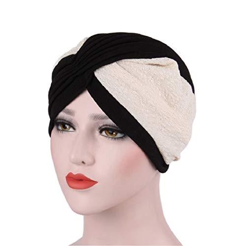 URSING Frauen Kopftücher Indien Hut Muslim Rüsche Krebs Chemo Hut Mütze Schal Kopf...