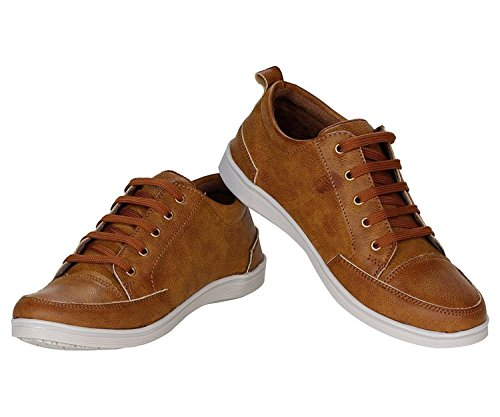 Espoir Men\'s Combo Lace Up Brown Synthetic Leather Sneakers And Watch 8