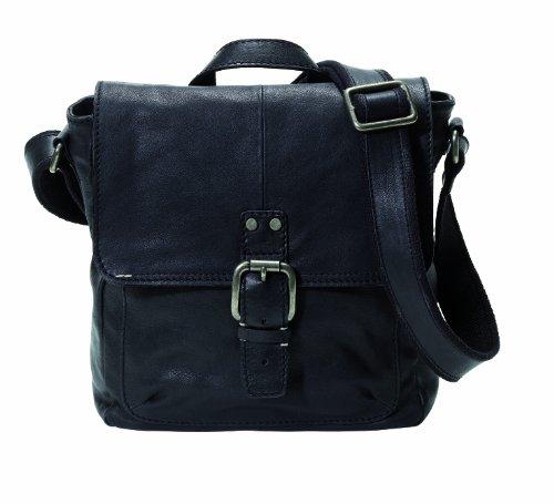 Fossil Decker - City Bag, Sac bandoulière homme - Noir, Cuir Noir