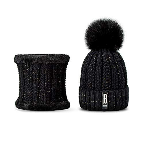 EJKDF Wintermütze Für Damenmode Feste Warme Hüte Gestrickte Mützen Kappe Dicke Weibliche Kappe B