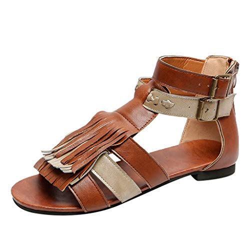 HCFKJ Sandalias Mujer Verano 2019 Zapatos De Punta Plana con Flecos para Mujer...