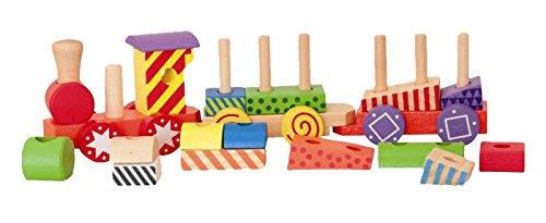 Woodyland 35 x 9 cm didáctico juguetes Tren de carga pequeña con bloques impresos (17 piezas)
