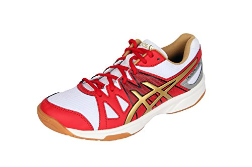 ASICS Men's Gel-Upcourt White, Gold and Grey Volleyball Shoes - 8 UK/India (42.5 EU)(9 US)