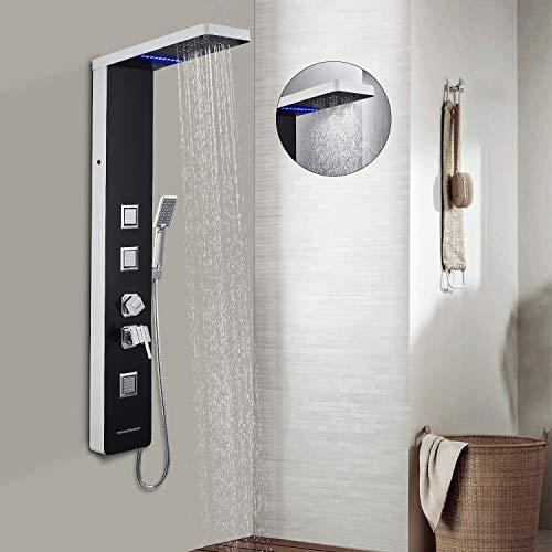 BONADE Duschpaneel Duschsystem aus 304 Edelstahl Duschset mit LED duschbrause Handbrause Massagendüsen Regendusche Set Duschsystem Aufputz Dusche für Bad Badewanne