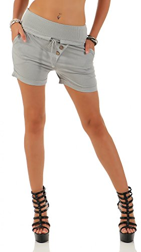 Damen Hotpants Shorts Kurze Hose Chino Bermuda Pants in angesagten Farben ( 554 ), Grösse:38 M, Farbe:Grau
