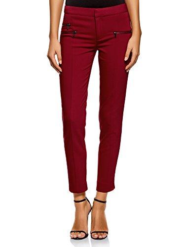 oodji Ultra Donna Pantaloni Aderenti con Zip Decorative, Rosso, IT 40 / EU 36 / XS