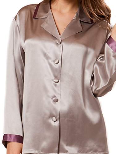 Ellesilk Luxurious Silk Pajama Set femme avec Piping Platinum / Raisin