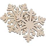 Tinksky Hexágono copo de nieve colgante madera adornos para la decoración de Navidad Pack 10pcs