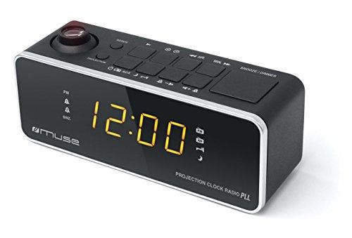 Muse M-188 P Negro- Radio despertador con proyector de hora
