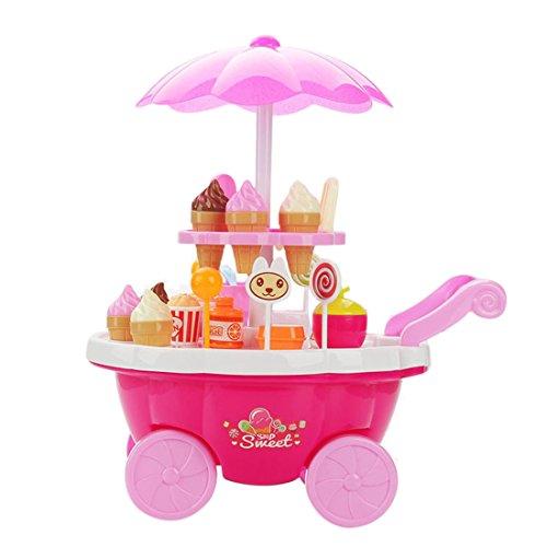 Preisvergleich Produktbild 39 Stücke Qianle Eiszubehör mit Wagen Spielzeug als Geschenk,Erziehungsspielzeug,Familie spielen 39-teilig Pink