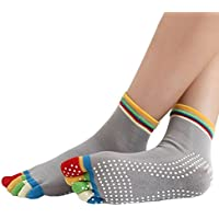Calcetines de algodón con talón antideslizante para yoga, de Aquiver, Color gray, talla única