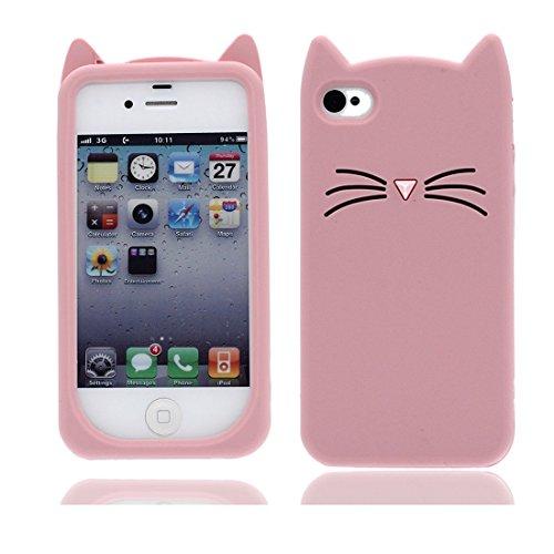 iPhone 4 Copertura,iPhone 4 Custodia,gatto cat bella 3D del fumetto Gomma morbida di silicone Supporto per copertina Case Cover per iPhone 4 rosa