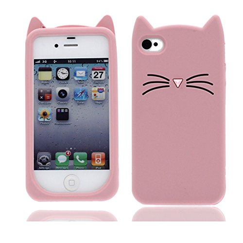YuanYuZhongPhoneSky iPhone 4 Hülle, Ultra Slim Anti-Rutsch-Stoßdämpfung Flexible Soft TPU Rückseitige Case Kratzfestes Gehäuse handyhülle für iPhone 4S - Cat Katze 3D [ rosa ] (Rosa Gehäuse Für Iphone 4s)