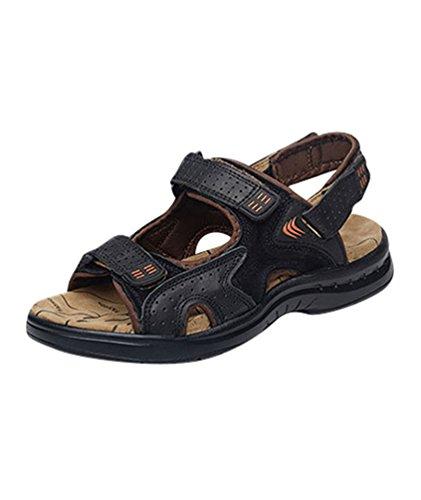 Yiiquan scarpe uomo sandali trekking sportivi pu pelle casual estivi outdoor camminata giardinaggio traspiranti spiaggia nero 42