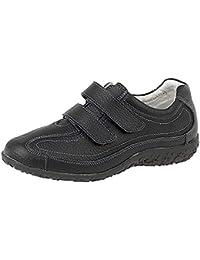 Extra large pour femme Coupe décontractée EEE Chaussures en cuir à Velcro Taille 3–9