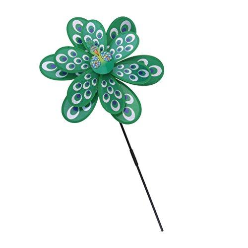e Windmühle Windrad Gartenstecker für Garten Rasen Balkon Terrasse Camping Party Hochzeit Dekoration Deko, 3D Pfau Doppelschichte Blumen Windmühle, 38cm* 53cm - Grün ()