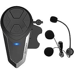 Kit Main Libre Moto, BETOWEY 1x BT-S3 Intercom Moto Bluetooth Oreillette 1000m Helmet Headset avec la Radio