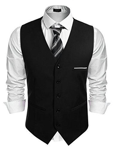 Burlady Herren Western Weste Herren Anzug Weste V-Ausschnitt Ärmellose Westen Slim Fit Anzug Business Hochzeit -