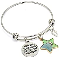 I Love You to the Moon, the Stars and Back Again Inspirational Gifts Bangle Bracelet Silver Blue Green Gold