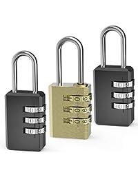 Omew Candado de combinación,Combinación de 3 dígitos Candado,Candado de Seguridad de Viaje para Maleta de Viaje Maletero de Bolsa (Latón +2 Negro)