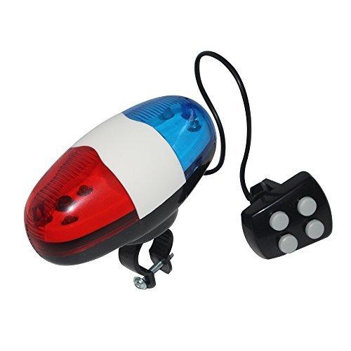 Generic Polizei-Sirenen-Klingel für das Fahrrad, mit 6 LEDs, mit Blinklicht, mit vier Knopf-Fernbedienung, 4 Polizeisirenentöne - Fahrrad-polizei