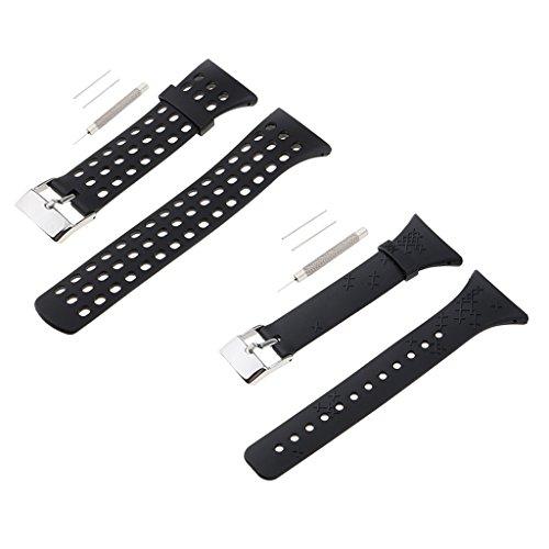 F Fityle Banda De Reloj De Goma De 2 Piezas para Suunto M M1 M2 M5 Negro Hombre Mujer