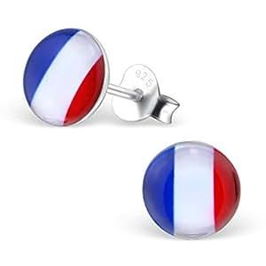 EURO 2016 Bunte Ohrstecker mit Französisch Flag Design Sterling Silber Fussball